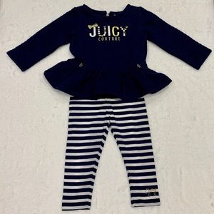 Juicy Couture Navy White Peplum Outfit Set 24 Mo